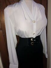 Vintage Slippery White Soft Sheen Secretary Blouse Size 16,18 Bust 46ins