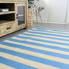 KOCHI NATURAL STRIPES BLUE JUTE FIBRE FLOOR RUG (L) 200x290cm **FREE DELIVERY**