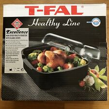 """T-FAL Non-Stick Health Roasting Pan w/ Pyrex Glass Dome Lid Cover 9 3/4"""" Square"""