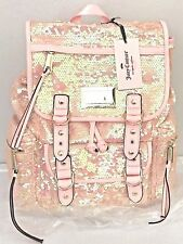 JUICY COUTURE Sequin Backpack Pink Campus School Book Bag NWT