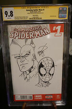 Marvel Comics Amazing Spiderman 1 SS CGC 9.8 Jam Piece Art Sketch Erik Larson