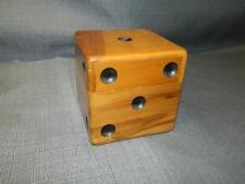 Vtg 40s 50s Dice Shaped Wood Box Poker Chip Rack Storage