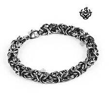 Silver black stainless steel vintage style solid filigree chain bracelet gothic