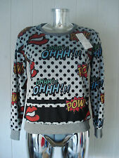 Pullover Sweater Damen Comic Style Lippen Textblasen Made in Italy Trend POW