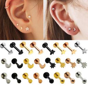 2pcs Steel Labret Lip Ear Stud Ear Cartilage Tragus Helix Lobe Piercing Earrings