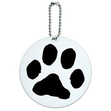 Paw Print Pet Dog Cat Round Luggage ID Tag Card Suitcase Carry-On
