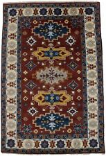 Geometric Tribal Design Kazak 6X9 Hand-Knotted Oriental Rug Home Wool Carpet
