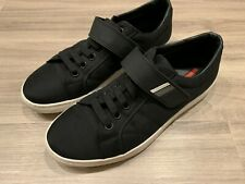 Prada Calzature Uomo Men's Shoes Sneakers Black White Size 8 Low 4E3180 Leather