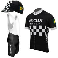 Peugeot Michelin Retro Cycling Jersey Bib Short Set Black