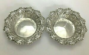 Pair Antique Victorian Sterling Silver Bon Bon Dishes 1895
