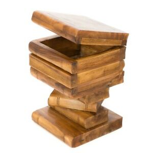 Stacked Book Storage Table/Hand Carved/Solid Acacia Wood/Lamp Table/Waxed