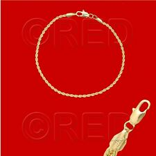 "GOLD over SILVER QUALITY MADE in ITALY 2mm ROPE CHAIN 7.5"" BRACELET R2A"