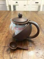 Glass Teapot Personal Tea Kettle QVC  3 Cup 24 Ounces Red Blue Green Brown NIB
