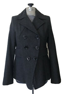 GUESS Gray Jacket Pea Coat Double Breasted Wool Blend Fully Lined Size XS