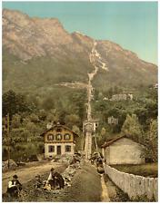 Ticino. Lugano. Ferrovia sul San Salvatore.  PZ vintage photochromie, photochr