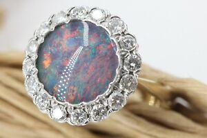 1,12 ct. Diamant Opal Ring Gold 585 Gelbgold 14 K Brillant Ring VS2 H-I Größe 56