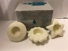 Set of 3 Partylite Sea Drifters Bisque Porcelain Tea Light Holders white cream