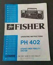 """Manual """"Fisher"""" Ph402 Boom Box Am/Fm Cassette Recorder Tape Deck Ghetto Blaster"""