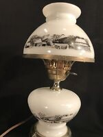 """RARE Vintage Currier & Ives Milk Glass (Matching Base & Top) Table Lamp 15"""" Tall"""