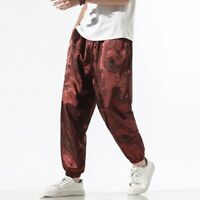 Men Faux Silk Harem Pants Tapered Trousers Satin Chinese Dragon Tai Chi Kung Fu