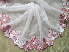 "2Y~5""~ Venise Embroidered Flower Lace Trim Tulle Craft Sew Wedding Pink White"