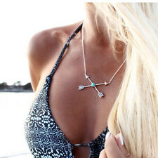 BOHO Turquoise Love Cupid's Arrow Cross Silver Chain Necklace Charm Jewellery