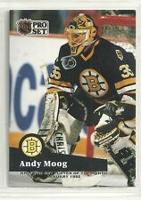Andy Moog 1991-92 Pro Set Boston Bruins Player of the Month Hockey card