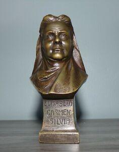 "Rare 3"" Bronze Bust - Queen Elisabeta Carmen Silvia / Carmen Sylva - Stunning!"