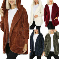Womens Winter Warm Fluffy Fleece Fur Hooded Sweater Cardigan Jacket Outwear Coat