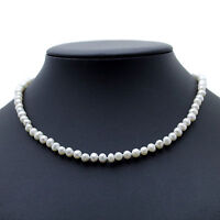 Pearl Choker Necklace White Cultured Freshwater Pearls Sterling Silver 16""