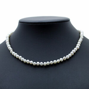 """Pearl Choker Necklace White Cultured Freshwater Pearls Sterling Silver 16"""""""