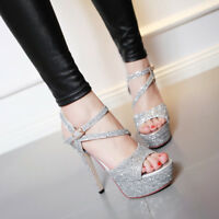 Womens Sequins Platform High Heels Sandals Bling Buckle Open Toe Slingback Shoes