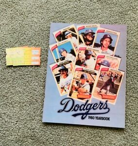 1980 Los Angeles Dodgers Yearbook very good condition! 3 ticket stubs!
