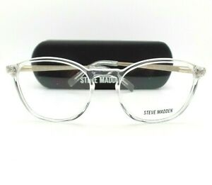 Steve Madden Tanner Crystal Brushed Silver 50mm New Eyeglass RX Frame Authentic
