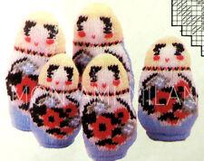 "Vintage Knitting Pattern • 5 RUSSIAN DOLLS • TOYS • MATRYOSHKA • BABUSHKA • 6-9"""