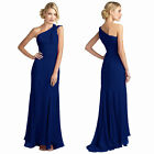One Shoulder Fitted Body-Wrap Chiffon Formal Ball Gown Evening Dress Navy