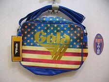 GOLA BORSA MEDIA MIDI REDFORD USA FLAG CUB982 GOLD DENIM BLUE ORO BLU IDEA REGAL