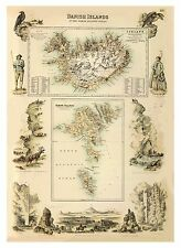Old Vintage Decorative Map of Iceland and Faroe Island Fullarton 1872