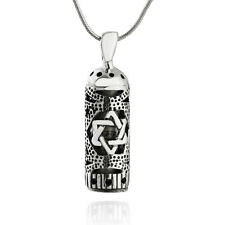 Mezuzah with Star of David Necklace - 925 Sterling Silver - Jewish Pendant Gift