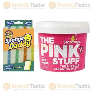 THE PINK STUFF MIRACLE CLEANING PASTE 500G & SCRUB DADDY SPONGE SCRUBBER 4PK