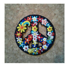 Peace Sign - Retro - Love - Flower Child - BoHo - Embroidered Iron On Patch - B