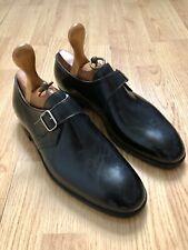 Mens John Lobb Single Monk Strap Leather Shoes Bespoke Black Custom Size 12