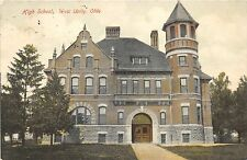 West Unity Ohio~High School~Arched Doorway & Window~1915 Postcard