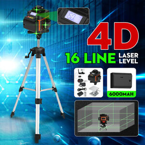 4D 16 Line Green Laser Level Auto Self Leveling 360° Rotary Cross Measurin