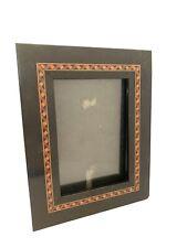 "Burnes of Boston Marquetry Style Black Photo Frame 3"" x 4.5"""