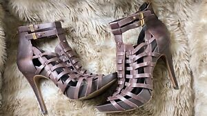 NWOT BCBGeneration Stilleto Gladiator Heels Leather Size 9