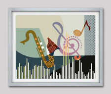 Music Instrument Saxophone Sheet Notes Home Decor Poster Abstract Painting