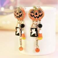 Halloween Party Pumpkin Ghost Ear Stud Dangle Hoop Drop Earrings Charm Jewelry