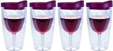 Wine Tumbler Vino Acrylic Merlot Drink Lid Wine 2Go - 10oz, Set of 4