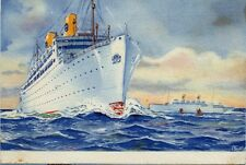 GRIPSHOLM KUNGSHOLM Swedish American Line Postcard 30s